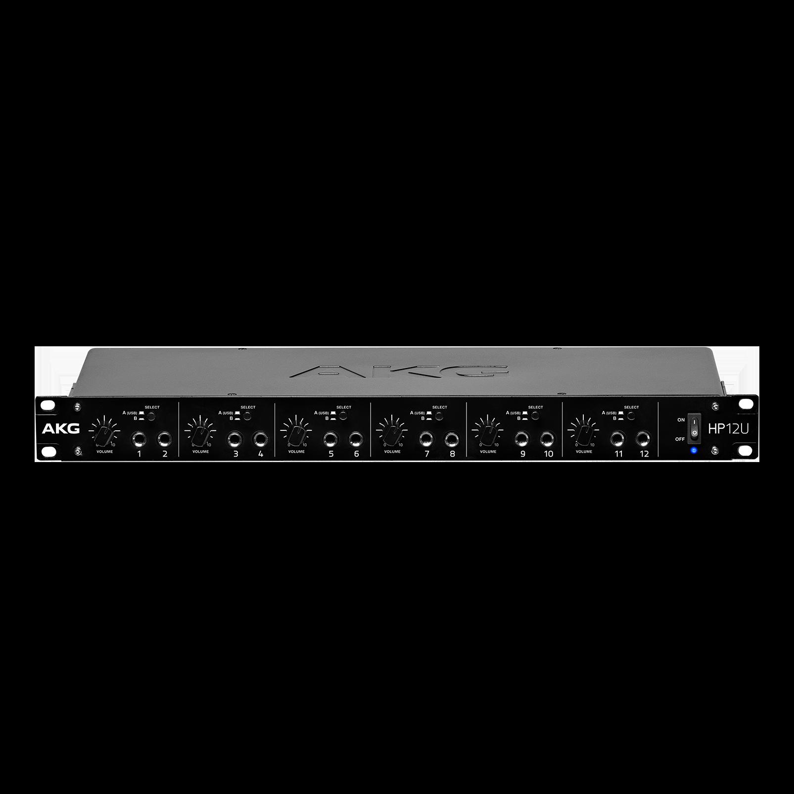 HP12U - Black - 12-Channel Headphone Amplifier with USB - Hero